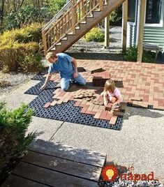 Resurfacing old patios is a breeze with AZEK Pavers. Diy Patio, Backyard Patio, Backyard Landscaping, Pavers Patio, Concrete Patios, Patio Resurfacing Ideas, Concrete Resurfacing, Outdoor Buildings, Diy Terrasse
