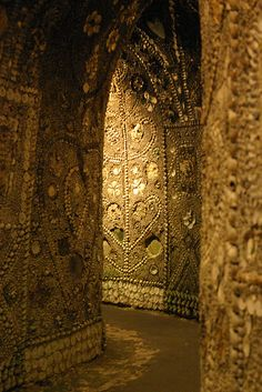The Shell Grotto, is an ornate subterranean passageway in Margate, Kent.  about 8 feet high and 70 feet in length, terminating in a rectangular room, approximately 15 by 20 ft.  The purpose of the structure is unknown,created in the past 3,000 years,possibly by the KnightsTemplar. The shells are all local, but some of the designs suggest associations with Phoenicia.