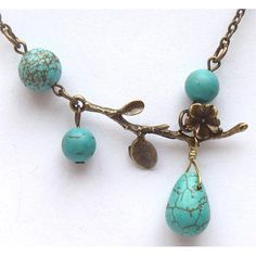 Antiqued Brass Branch Turquoise Necklace.