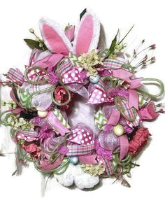 Deco Mesh Easter Wreath  Bunny ears and by DivineDesignWreaths