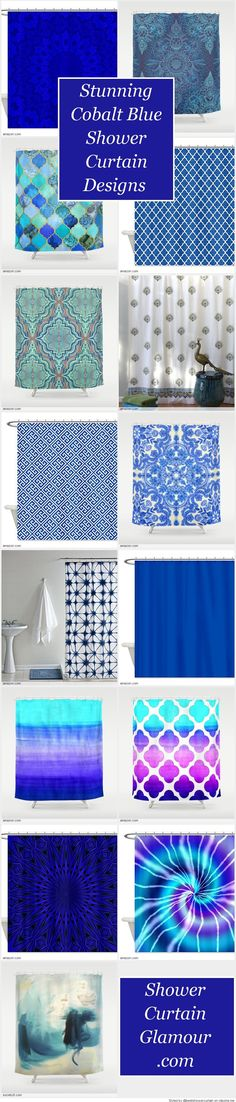 cobalt blue & china white folk art pattern shower curtain | cobalt