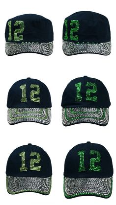 Seattle Seahawks 12th Women Bling Bling Adjustable Hats One Size Fit 28e1ffe19829