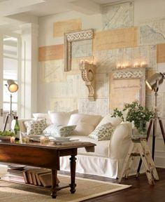 Love the coffee table and what a wall design. Saw the lights at home goods!