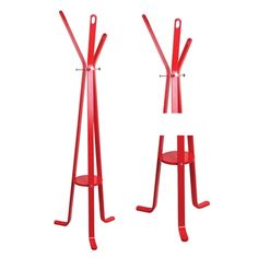 Laela Collection Styled Coat Rack in Red Finish Hall Tree Modern Look