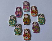 10 wooden russian doll buttons. Crafts-sewing-embellishments-cards-scrapbooking