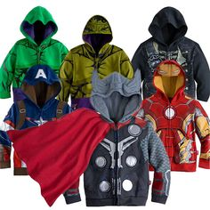 Boys Clothes Kids America Captain Long Sleeves Coat Outerwear Children Hulk Winter Jacket Boys Batman Spiderman Clothes Teenager