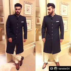 Latest photos of Arjun Kapoor Indian Men Fashion, Boy Fashion, Mens Fashion, Mens Traditional Wear, Traditional Outfits, Reception Suits, Sherwani Groom, Indian Groom Wear, Achkan