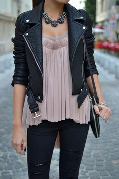 Edge up a silky top & sparkly neckwear with a leather motorcycle jacket & ripped jeans. Who said girly-girls can't look tough?
