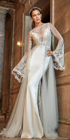 galia lahav fall 2017 bridal long bell sleeves illusion bateau deep plunging sweetheart neckline satin skirt elegant sheath wedding dress keyhole back chapel train (penelope) mv