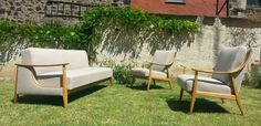 Daybed Sofa+ 2x Easy Chair Sessel, 50er 60er mid century klapp-couch, vintage.
