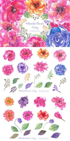 Watercolor Flowers Clipart Roses . Watercolor Flowers. $12.00