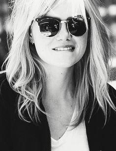 Emma Stone. Glasses. Tousled hair. White shirt. Laid back cool. Girl crush whaaat!
