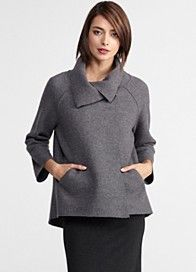 How the shoulder rounds on this coat just makes this coat so lovely--- EILEEN FISHER -- Asymmetrical Coat in Boiled Wool. Another nice and flattering design. Eileen Fisher, Top Mode, Boiled Wool Jacket, Asymmetrical Coat, Elegant Outfit, Plus Size Women, Ideias Fashion, Winter Fashion, Casual Outfits