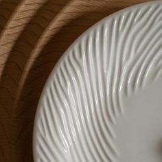 Reaction Plate by Nervous System.      Porcelain plates featuring an organic of ridges and values that spirals in from the edges. The form is the result of a computer simulation of reaction-diffusion.  Set of 4 is $80