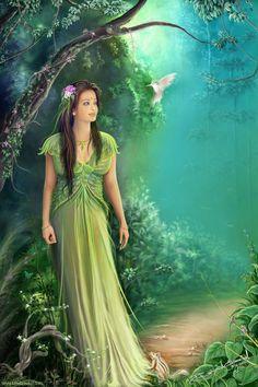Digital Concept Painting - Goddess Aranyani - Based on Aishwarya Rai Bachan as reference Fantasy Women, Fantasy Art, Saraswathi Devi, Beautiful Fairies, Animation, Aishwarya Rai, Pics Art, Hinduism, Wiccan