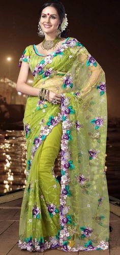 $128.84 Green Net Saree