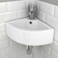 Corner Sink Bathroom Small, Small Cloakroom Basin, Corner Basin, Small Toilet Room, Basin Sink Bathroom, Bathroom Vanity Tops, Basin Taps, Bathroom Wall, Bathroom Ideas