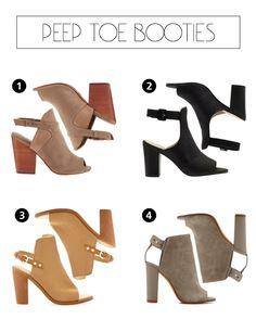 Stacked heel, peep toe booties. The perfect Fall shoe! Southern Arrondissement: Peep Toe Booties