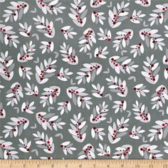 Alpine Holly Toss Gray from @fabricdotcom  Designed by Pink Chandelier and licensed to Wilmington prints, this cotton print is perfect for apparel, quilting and home decor accents. Colors include shades of grey, white and red.