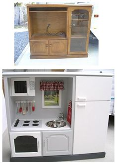 Kitchenette for little girls from an old entertainment center. Get ready for yardsales! Hope it's not too big