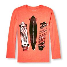 s Boys Long Sleeve Skate Board Neon Graphic Tee - Orange T-Shirt - The Children's Place