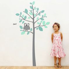 `Create a magical forest scene in your kids' and nursery rooms with this giant wall decal Owl on a tree. 4make Vinyl Wall Decals are easy & creative wall decor solution that will upgrade your kids wall decor