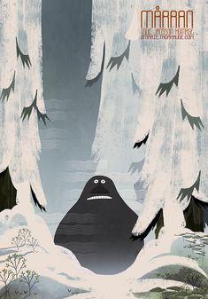Moomin / Tove Jansson homage by Marie Thorhauge, via Behance Tove Jansson, Illustration Inspiration, Children's Book Illustration, Moomin Wallpaper, Les Moomins, Sailor Moon Background, Moomin Valley, Cartoon Shows, Illustrations