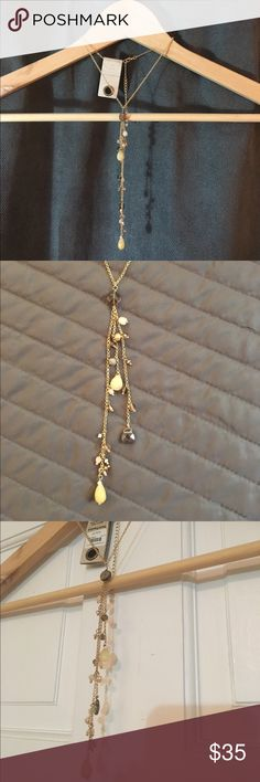 Anthropologie Cascading Strands Necklace NWT Anthropologie Cascading Strands Necklace NWT. Beautiful gold stands with semi-precocious stones. 👍❤️ Anthropologie Jewelry Necklaces