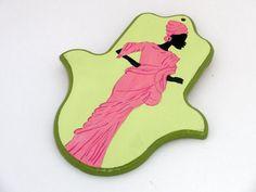 Hamsa  Hand of Fatima  Elegant African woman acrylic by Galleros, $17.00