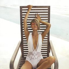 White #Zimmermann one piece swimsuit - perfect piece to jazz up with our flip flops