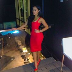 Party Glam Outfit Red Bodycon Dress Sexy Gold Red High Heels Style Trend Hot Kaicyre