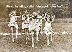 """Old/Vintage Cute/Adorable Little Ballerina/Ballet Girls Dancing Hoop 1920s Photo Item Details:You will receive a 5""""x7"""" black and white photo reprint."""