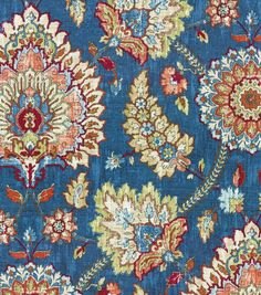 Floral upholstery fabric, Flowing graceful floral design with charming colors. Content: 55% Linen, 45% Rayon Width: 54 inches Fabric Type: Print Upholstery Grade: N/A Horizontal Repeat: 13.5 Inches Ve