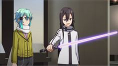 Sword Art Online II Episode 4 - Poor Sinon is trying her hardest to share her knowledge and passion with Kirito, and all he wants to do is use a light saber Kirito Kirigaya, Kirito Sao, Online Anime, Online Art, Sao Underworld, Gun Gale Online, Anime Motivational Posters, Sword Art Online Kirito, Anime Base