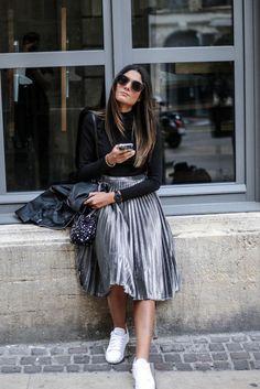 Pleated Midi Skirt + Sneakers