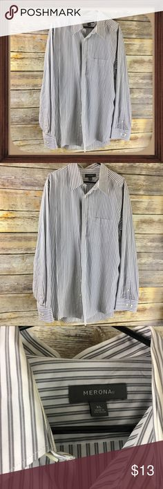 Merona White With Gray Stripes Button Down Shirt White with gray stripes button down shirt. In excellent condition. Size XL. 33 inches long. 28 inch sleeves. 25 inches arm pit to arm pit without stretching material Merona Shirts Casual Button Down Shirts