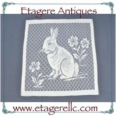 Lacy Rabbit Panel. #vintage #bunny #rabbit #lace #sewing #doily #diy #craft #shopping #shoponline #shopsmall #gotvintage #etagereantiques