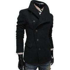 TheLees Mens Unbalance High Neck Slim PEA Coat Jacket