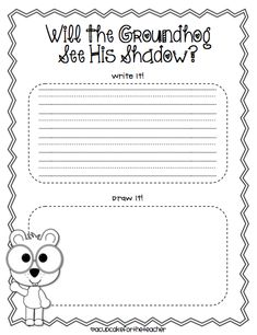 Groundhog Display and Freebie - A Cupcake for the Teacher Preschool Groundhog, Groundhog Day Activities, Free Preschool, Writing Activities, Winter Activities, School Items, School Ot, School Stuff