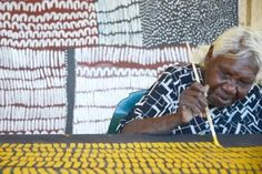 Artist Lena Nyadbi painting at the Warmun Art Centre Just when I was looking for some fodder for my next book.  Up pops Lena Nyadbi   Jo