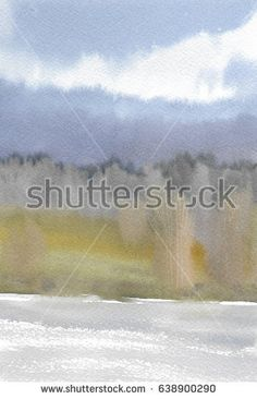 Abstract landscape with cloudy sky watercolor painting background on textured paper