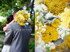 modern yellow gray wedding flowers #bouquet #wedding