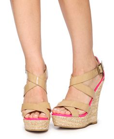Adorable summer shoes! getting these for sure! ($24.80 f.21 patent crisscross wedges)