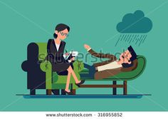 Cool flat concept design on psychotherapist with lying patient characters   Therapist sitting wearing glasses taking session notes in notepad while male patient talking about his problems - stock vector