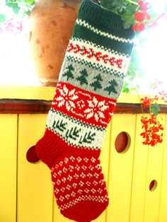 For the boys? For 2014Hand knit Christmas Stocking by KnittingsWithSense on Etsy, $58.00