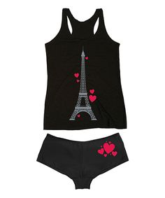 Look at this Black Eiffel Tower Hearts Tank & Hipster on #zulily today!