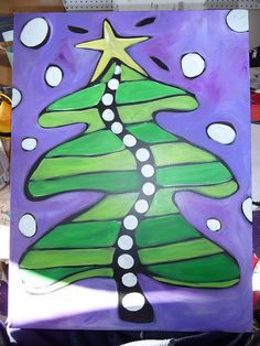 Christmas Art Projects, Christmas Arts And Crafts, Winter Crafts For Kids, Noel Christmas, Art For Kids, Christmas Ideas, Purple Trees, Christmas Tree Painting, Theme Noel