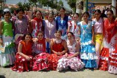 Spanish Girls in Flamenco Dresses