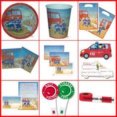 Pompieri-Piatti-bicchieri-buste-Inviti-per-bambini-compleanno-festa