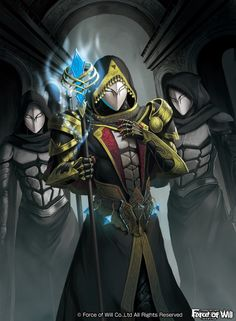 3boys armor copyright_name force_of_will gem gloves highres hood ko-ran mask multiple_boys official_art solo staff upper_body